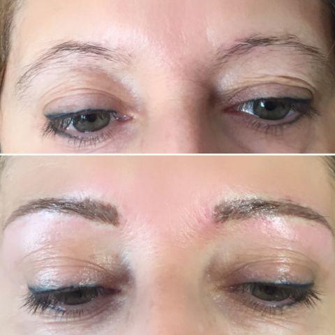 transformation de la ligne des sourcils blond cendré et eye liner